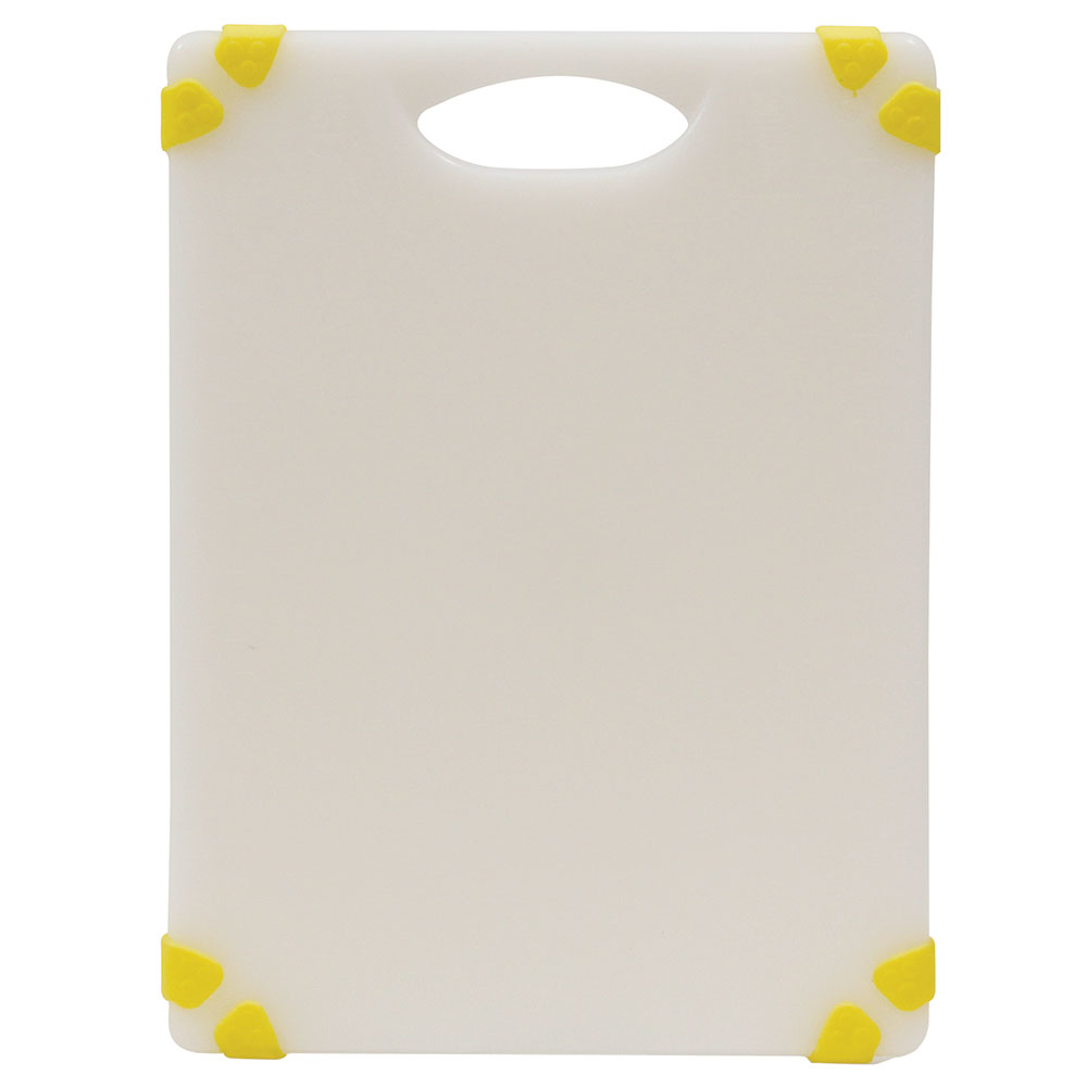 "Tablecraft CBGW912AYL Cutting Board - 9"" x 12"", Polyethylene, White w/ Yellow Grips"