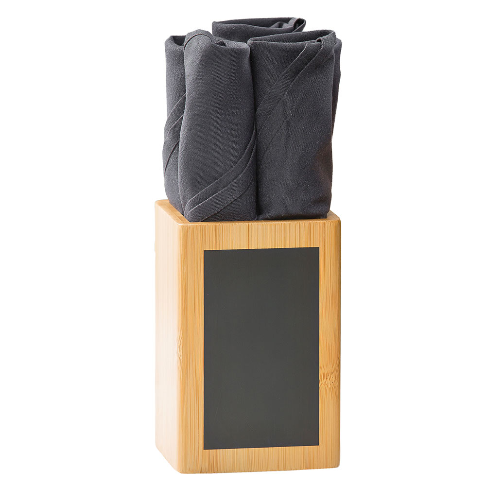 "Tablecraft CHCBS446 Cutlery Holder w/ Chalkboard, 4"" x 4"" x 6"", Bamboo"