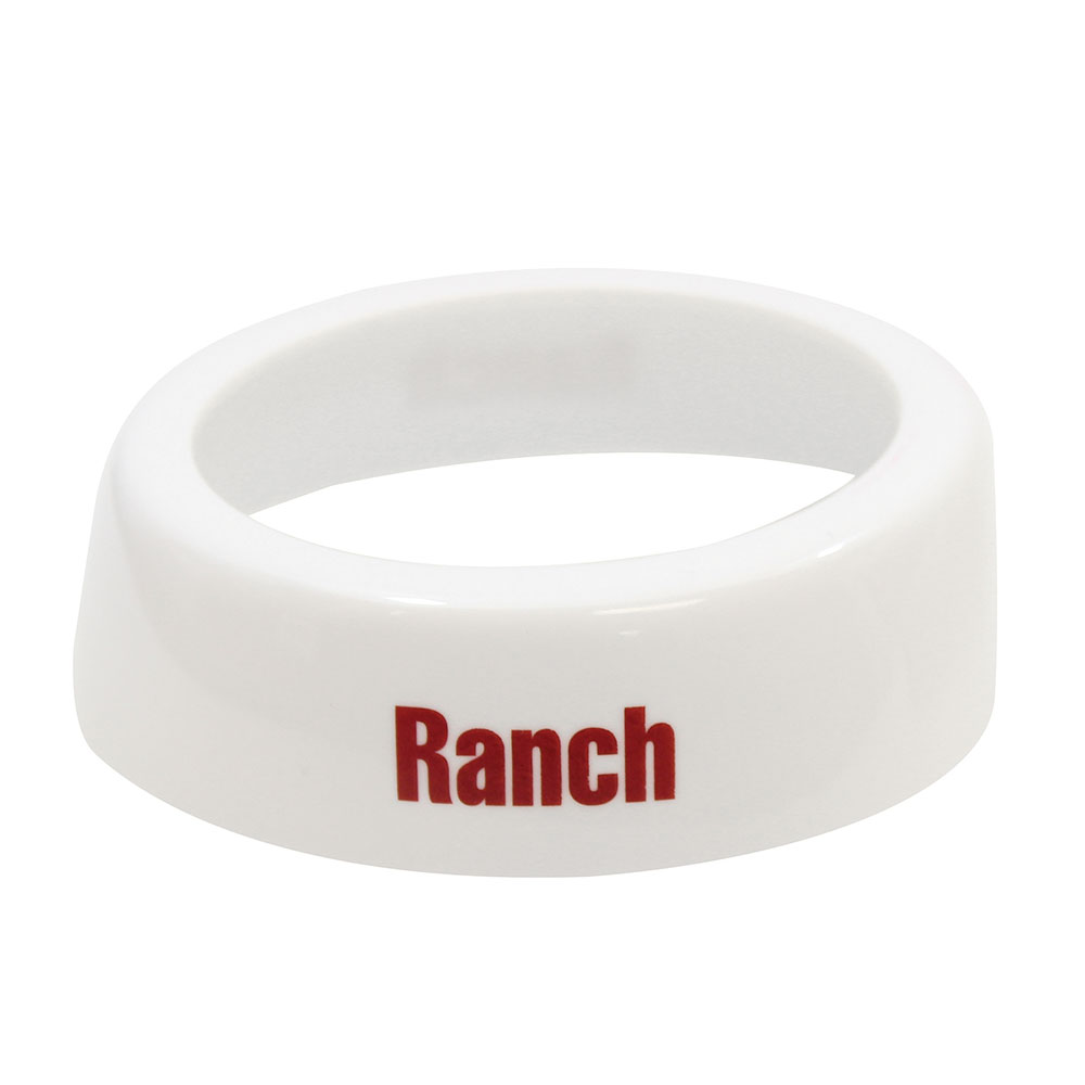 Tablecraft CM6 White Plastic Dispenser ID Collar w/ Maroon Print, Ranch
