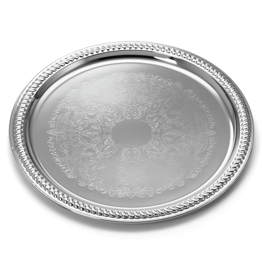 "Tablecraft CT13 Round Serving Tray, Embossed Pattern, 12.75"" Dia, Chrome Plated"