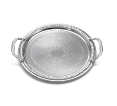 Tablecraft CT13H Round Serving Tray w/ Handles, Embossed Pattern, 13 in Dia, Chrome Plated