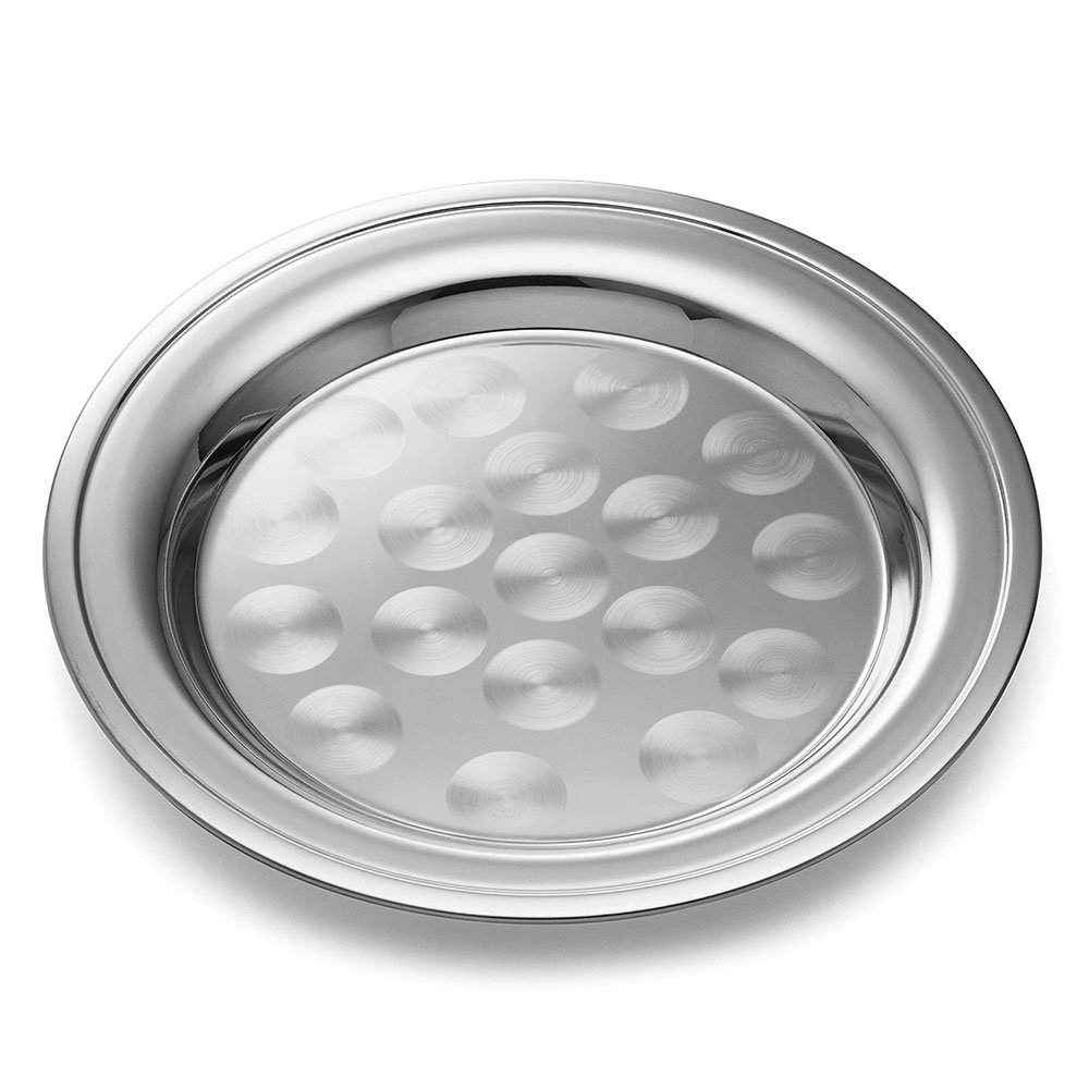 Tablecraft CTX12R Round Serving Tray, Rolled Edge, 12 in Dia, Stainless Steel