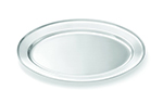 Tablecraft CTX1411 Oval Serving Platter, Rolled Edge, 13.75 x 8.5 in, Stainless Steel