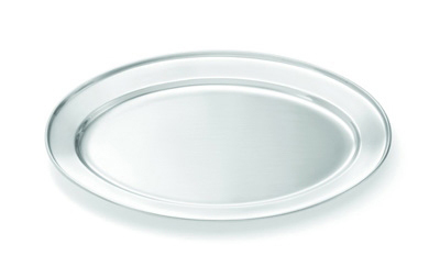 Tablecraft CTX2622 Oval Serving Platter, Rolled Edge, 25.75 x 18 in, Stainless Steel