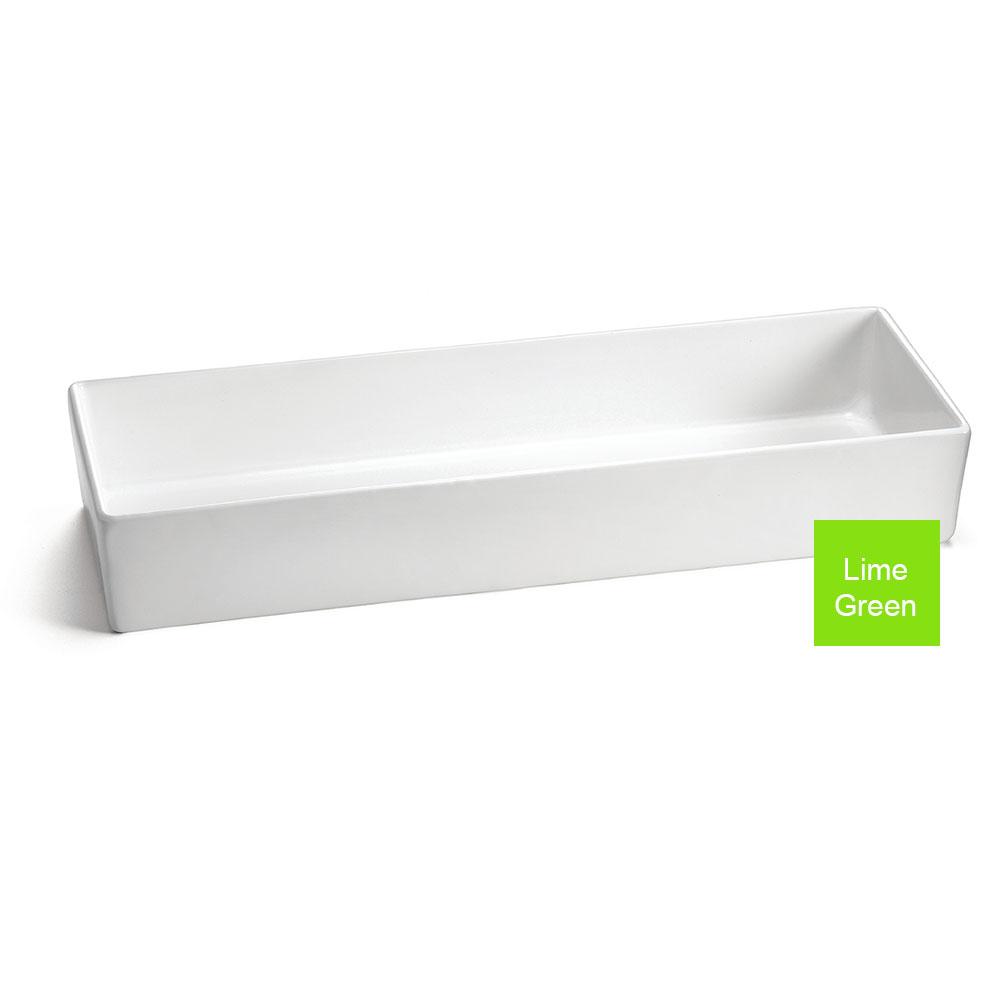 "Tablecraft CW4006LG Rectangular Bowl w/ 184-oz Capacity, 19.5"" x 6.875"" x 3"", Lime Green"