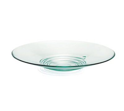 Tablecraft G16 Round Barcelona Collection Swirl Pattern Tray, 16.5 in Dia, Green Glass