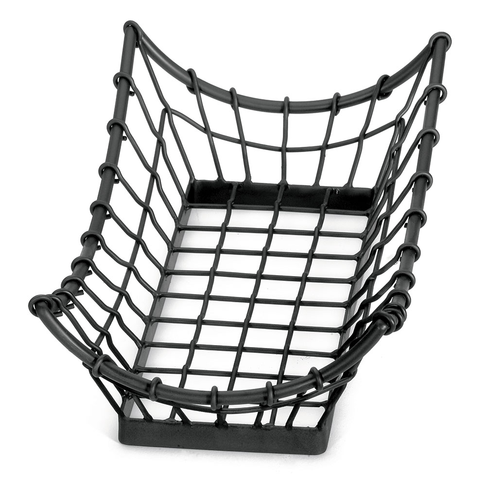 Tablecraft GM1608 Rectangular Grand Master Collection Basket, 15 L x 8 W x 4.5 in H, Black Metal