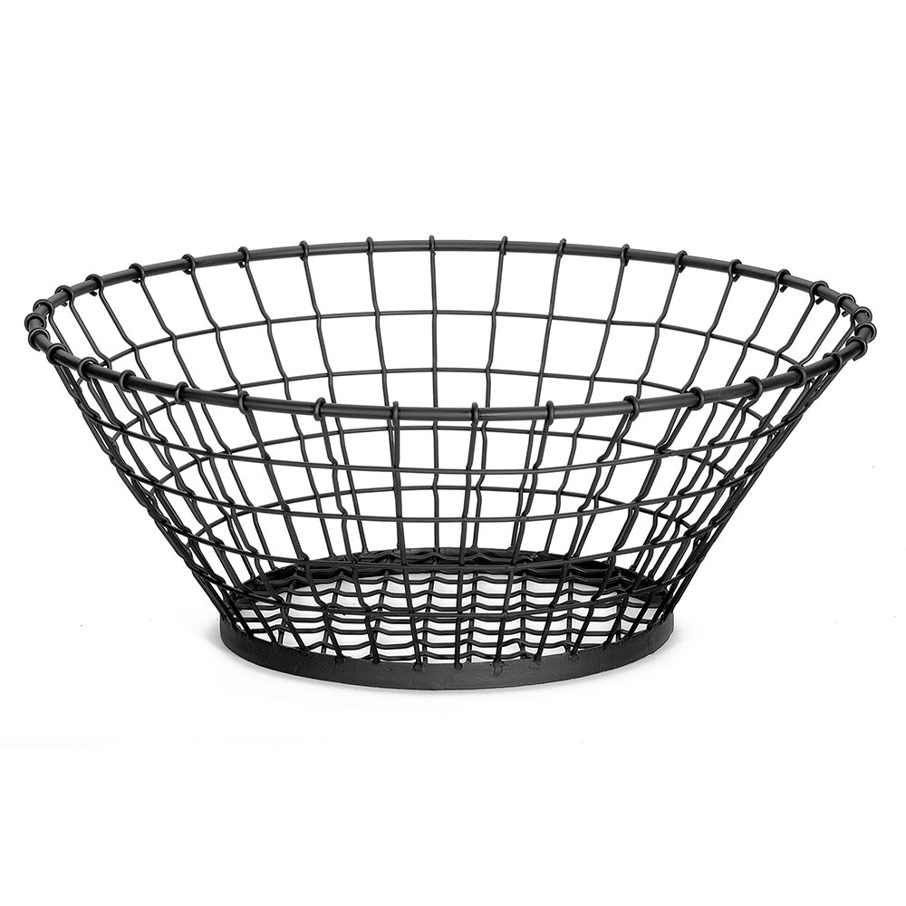 Tablecraft GM21 Round Grand Master Collection Basket, 21 x 8 in, Black Powder Coated Metal