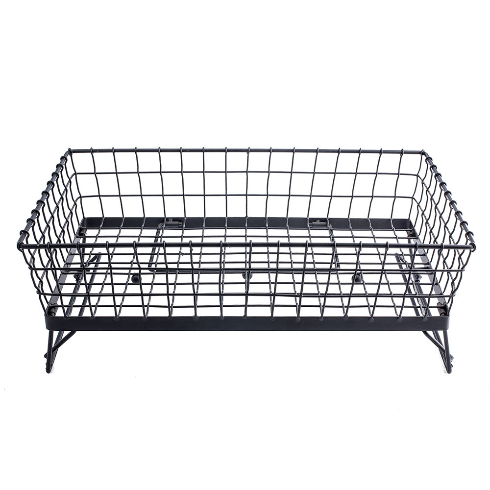 "Tablecraft GMT21125 Full-Size Adjustable Wire Serving Basket, 21"" x 12"" x 5"", Black"