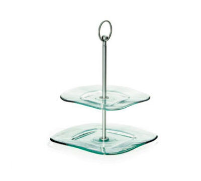 Tablecraft GT2 Square Barcelona Tray, Two 10.5 & 8.75 in Tiers, 13 in H, Green Glass