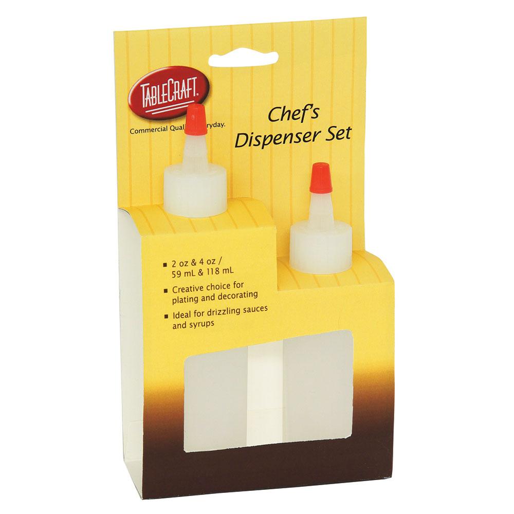 Tablecraft H110204 Natural Chef Squeeze Bottle Dispenser Set