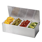 Tablecraft H1604 4-Compartent Condiment Caddy w/ Lid, Stainless