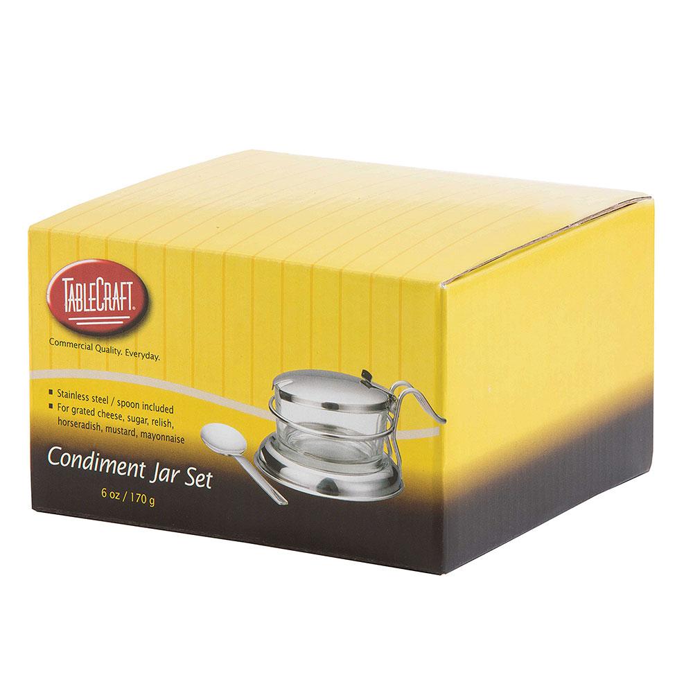Tablecraft H357 Condiment Jar Set, 6 oz, Stainless Steel