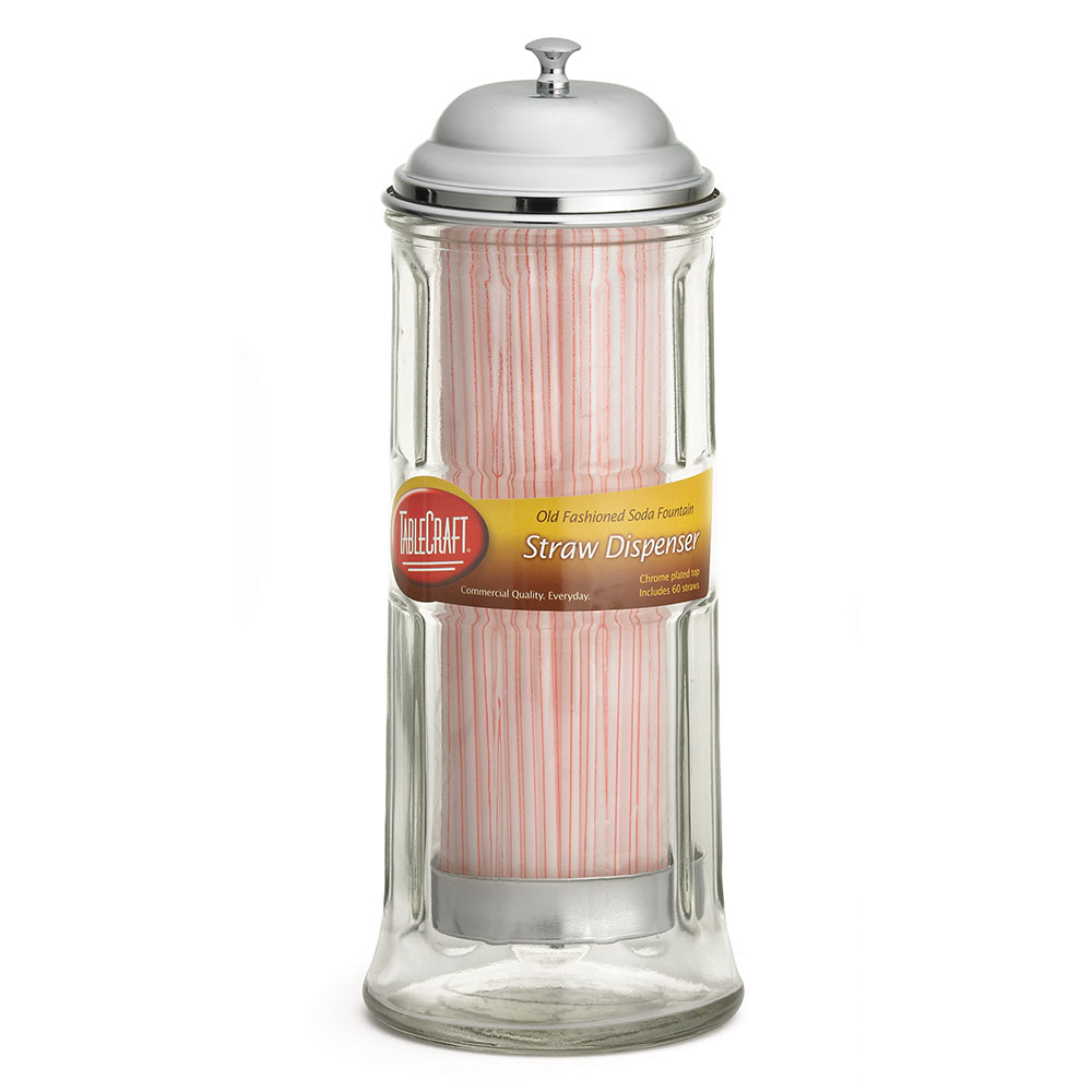 "Tablecraft H714CH 11.25"" Straw Dispenser w/ Chrome Plated Top, Glass"