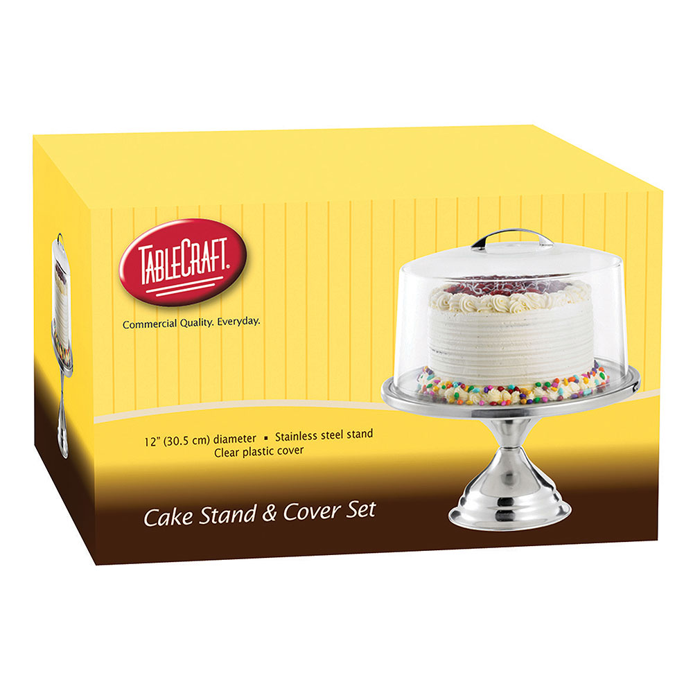 "Tablecraft H821422 12"" Round Cake Stand & Acrylic Cover Set, Stainless"