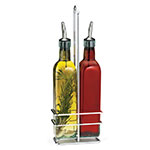 Tablecraft H916N Prima Olive Oil Bottle Set, (2) 16 oz, Square, With Chrome Rack