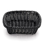 "Tablecraft M2485 Rectangular Basket, 11.5 x 8.5 x 3.5"", Black Polypropylene Cord"