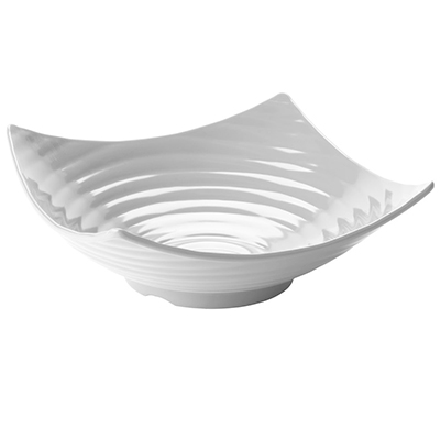 "Tablecraft MB164 13"" Square Frostone Bowl - Ribbed, Melamine, White"