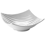 "Tablecraft MB206 15-1/2"" Square Frostone Bowl - Ribbed, Melamine, White"