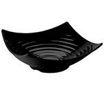 "Tablecraft MB206BK 15-1/2"" Square Frostone Bowl - Ribbed, Melamine, Black"