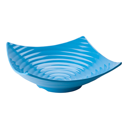 "Tablecraft MB206BL 15-1/2"" Square Frostone Bowl - Ribbed, Melamine, Blue"