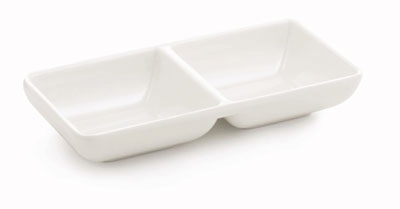Tablecraft MB63 Frostone Divided Sauce Bowl, 6 x 2.75 in, Rectangular, Melamine, White