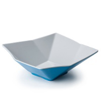 "Tablecraft MB93BLW Angled Square Bowl, 9x3.25"", Melamine, White/Blue"