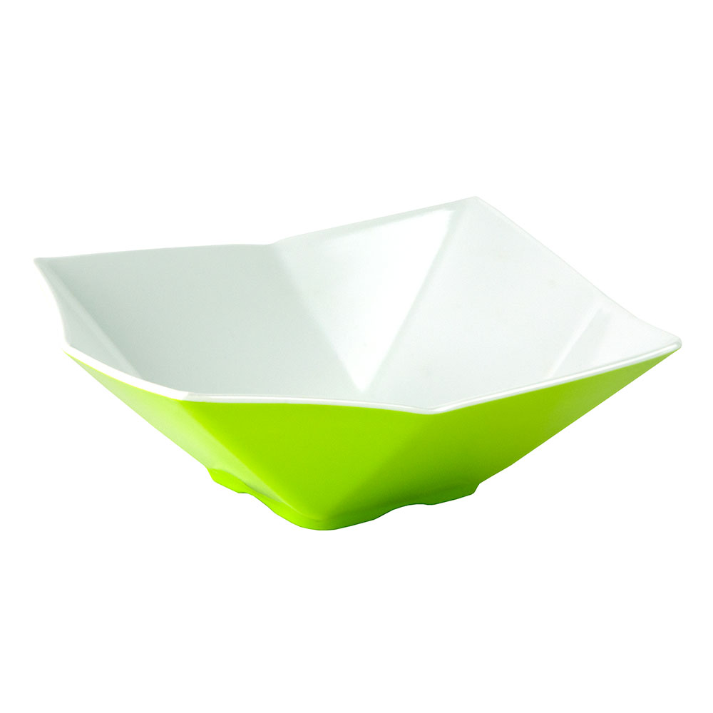 "Tablecraft MB93GNW Angled Square Bowl, 9x3.25"", Melamine, White/Green"