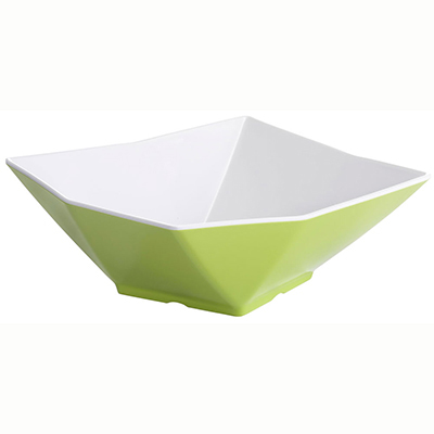 Tablecraft MB93XW Angled Square Bowl, 9x3.25-in, Melamine, White/Orange