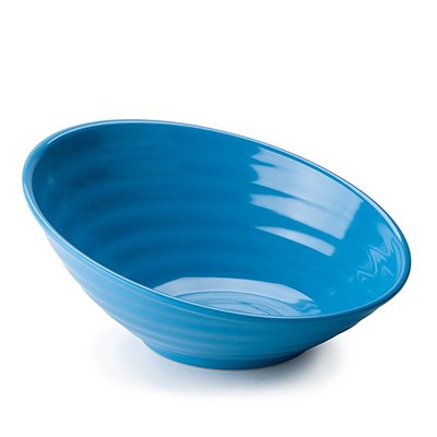 "Tablecraft MBT115BL 12"" Round Frostone Bowl - Sloped, Glitter Melamine, Blue"