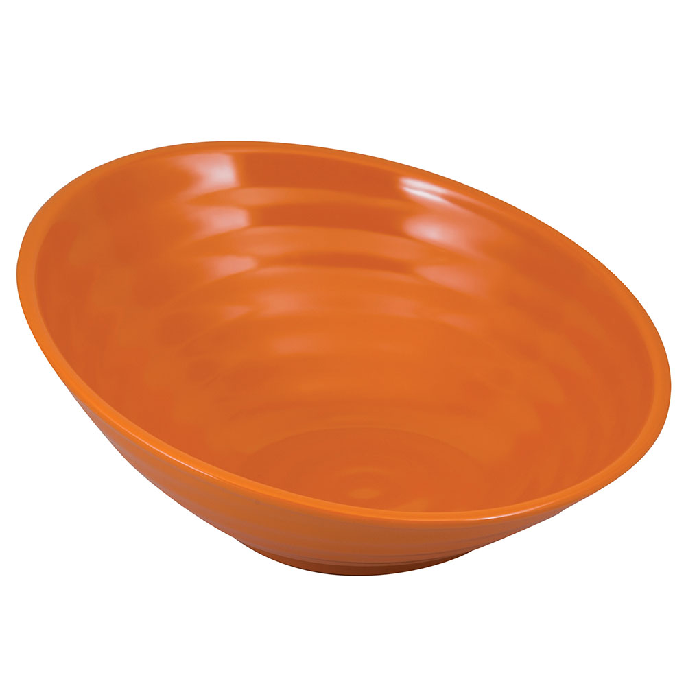 "Tablecraft MBT115X 12"" Round Frostone Bowl - Sloped, Glitter Melamine, Orange"