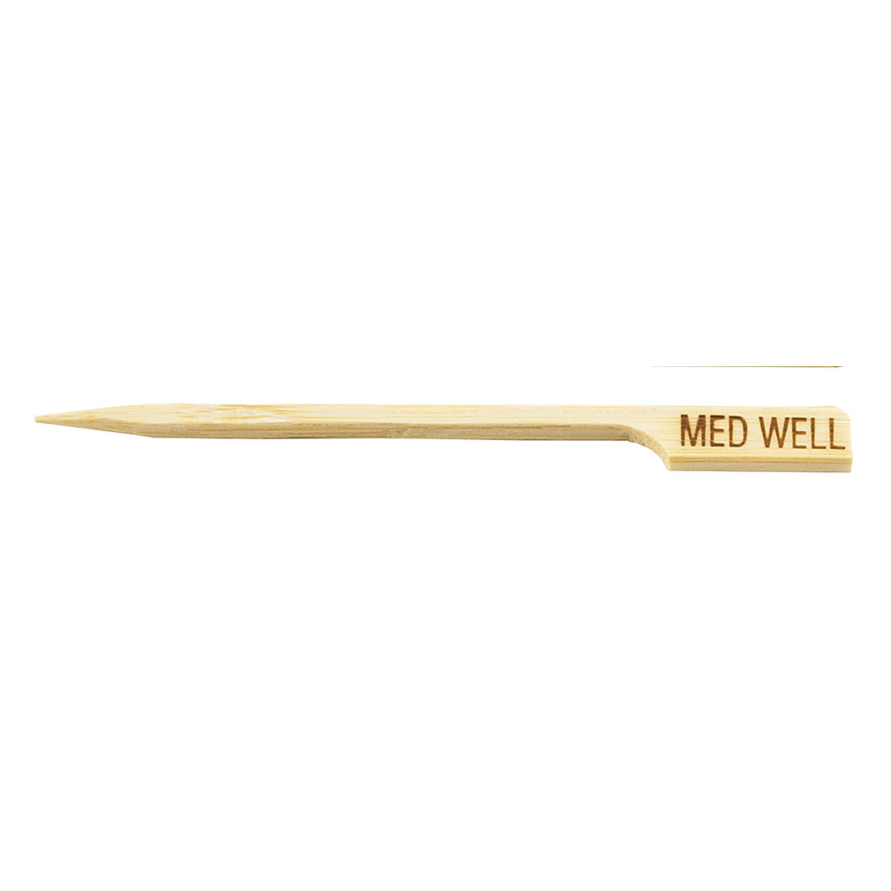 "Tablecraft MEDWELL 3.5"" Bamboo Meat Marker Pick, Medium Well"