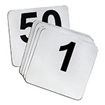 "Tablecraft N150 Tabletop Number Cards - #1-50, 4"" x 4"", Stainless/Black"
