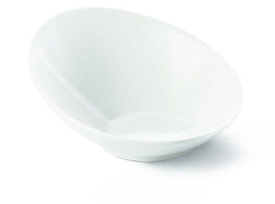 Tablecraft PB115 Oval Glacier Collection Bowl, 11.5 x 4.5 in, Sloped, Porcelain, White