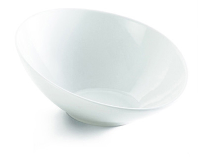 Tablecraft PB146 Oval Glacier Collection Bowl, 14.5 x 5.5 in, Sloped, Porcelain, White