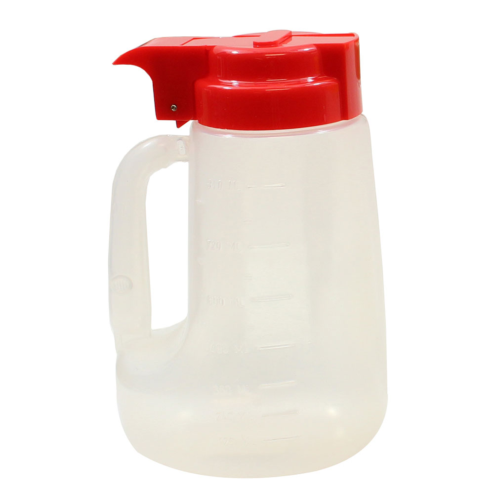 Tablecraft PP32R 32-oz Pour Dispenser w/ Graduated Markings - Polypropylene, Red
