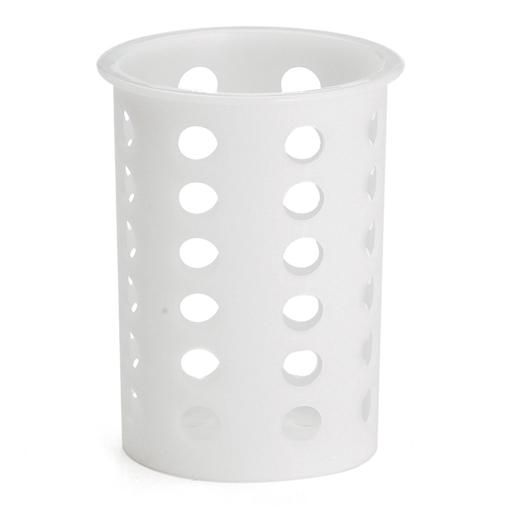 Tablecraft PP33 Silverware Cylinder, 5-1/2in x 5-1/4in, Polypropylene, White