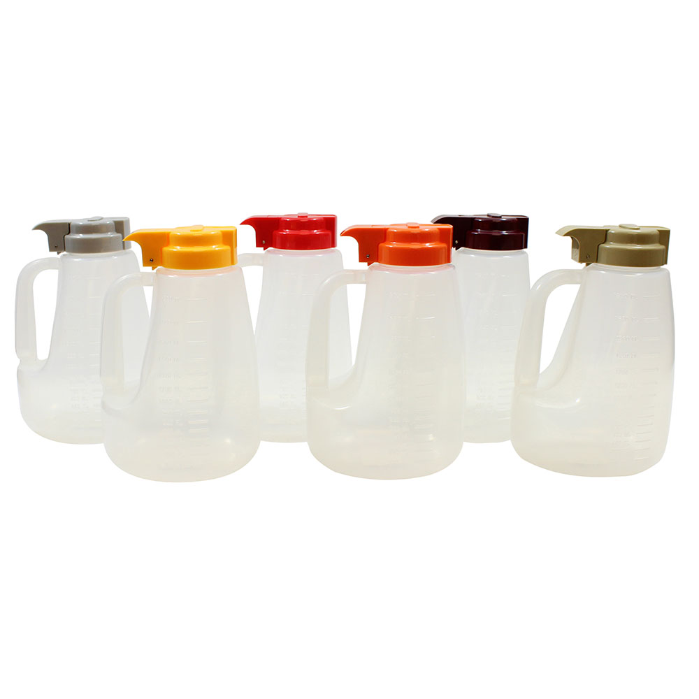 Tablecraft PP64A 64-oz Pour Dispenser Kit w/ (6) Colors - Polypropylene, Clear