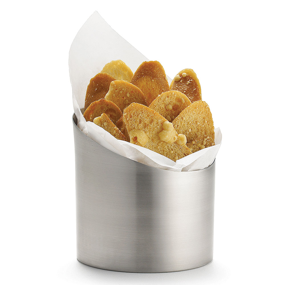 Tablecraft R44 Stainless Steel Fry Cup, 3-3/4 x 4""