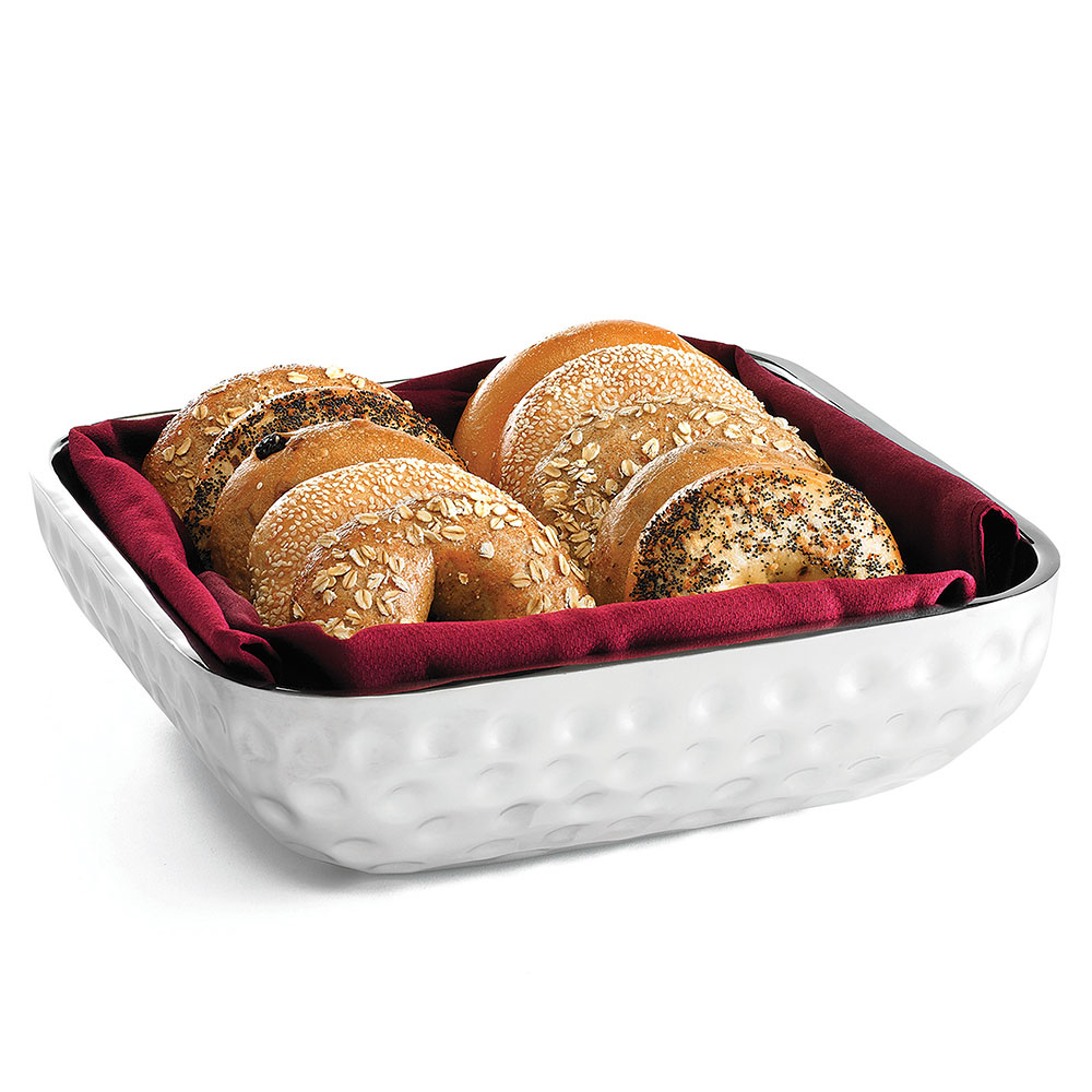 Tablecraft RB1313 Square Double Wall Bali Bowl, 13.25 x 4 in, Stainless Steel