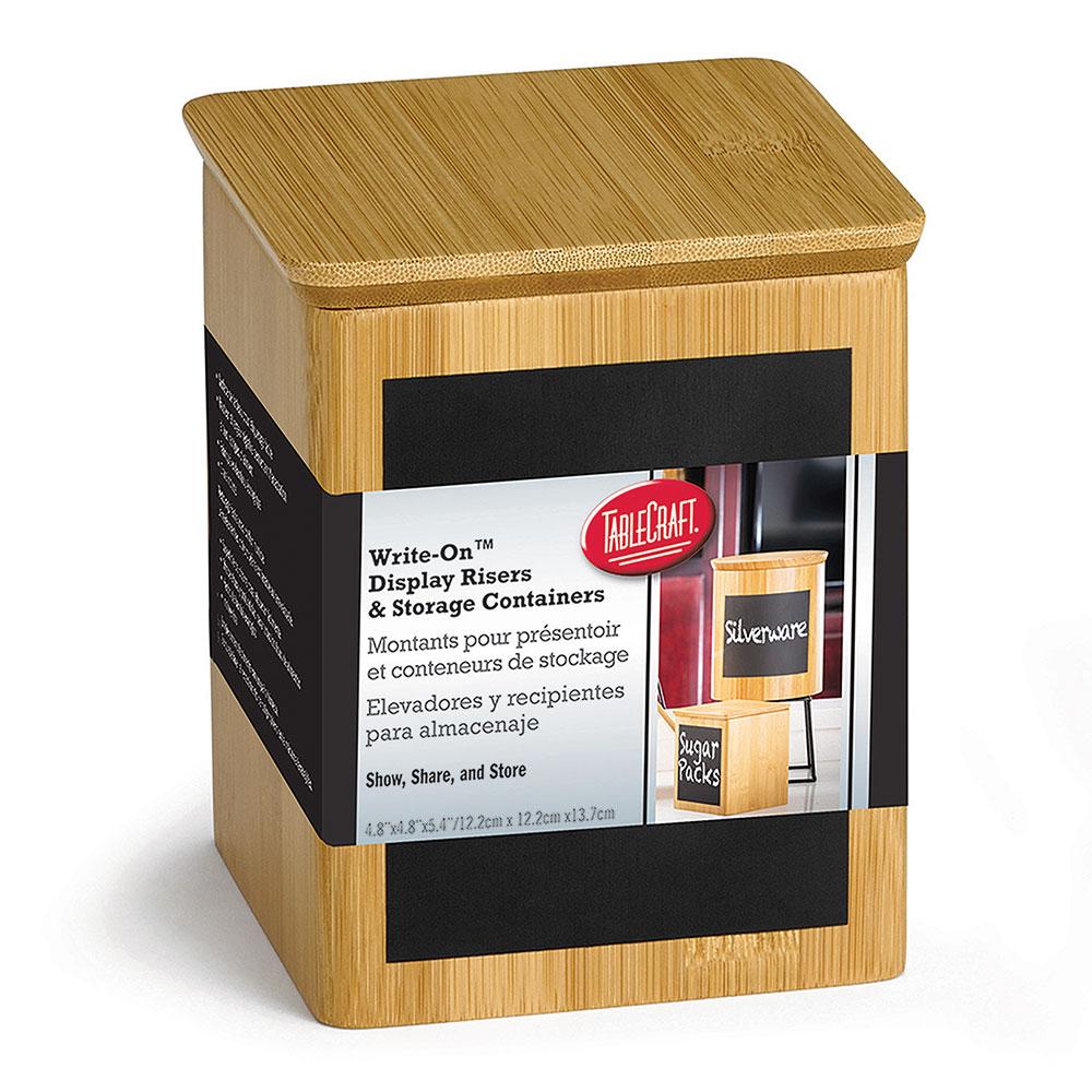 "Tablecraft RCBS445 Display Riser w/ Chalkboard, 4"" x 4"" x 5.5"", Bamboo"