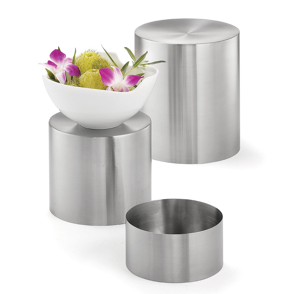 Tablecraft RR3 Round 3 Piece Riser Set, Brushed Stainless Steel, One Each 8 & 7 & 6 in Dia