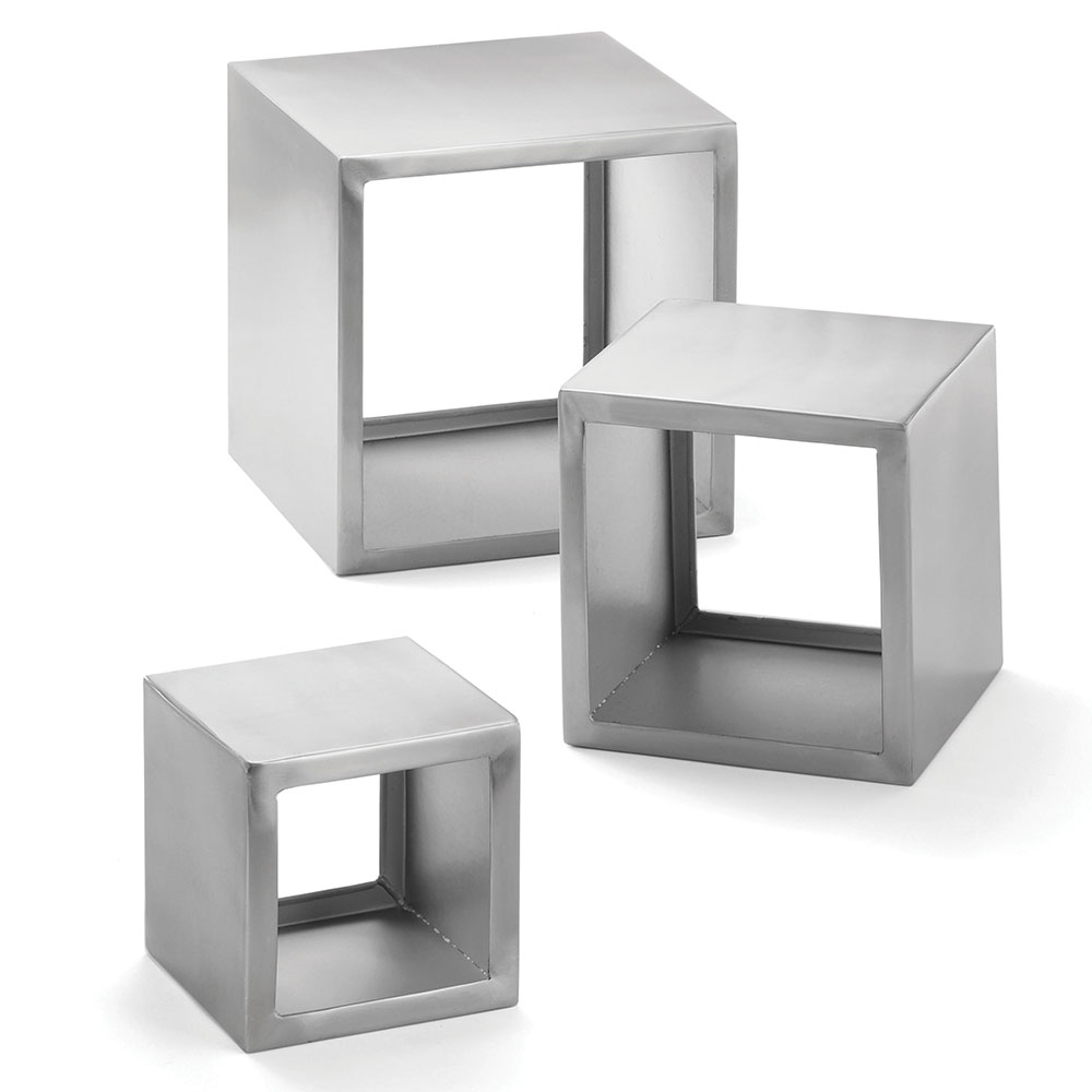 "Tablecraft RS3 Square Brushed Stainless Steel Riser Set, 3 Piece, 5 & 7 & 9"" Squares"