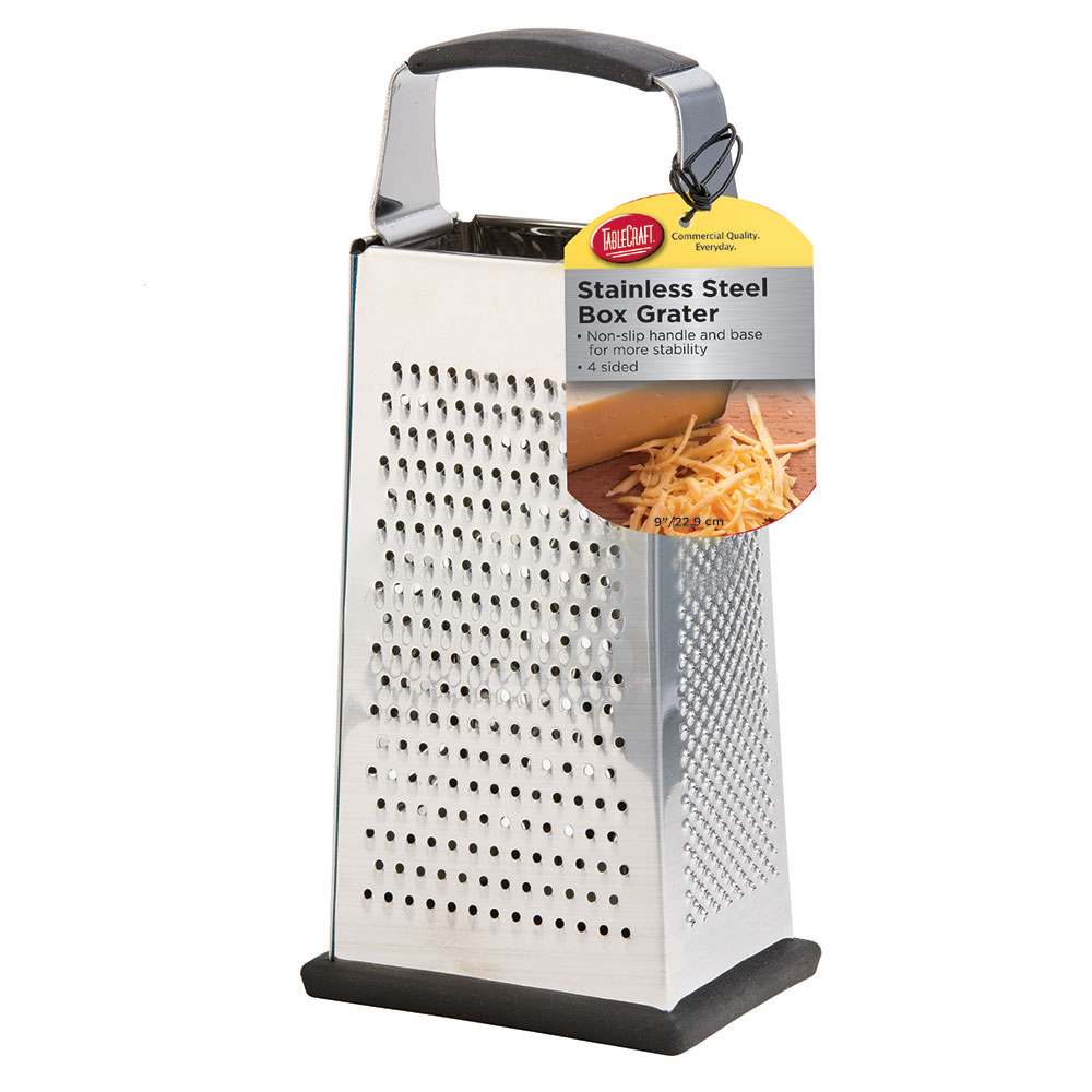 """Tablecraft SG205BH 9"""" Box Grater w/ Handle, Stainless"""