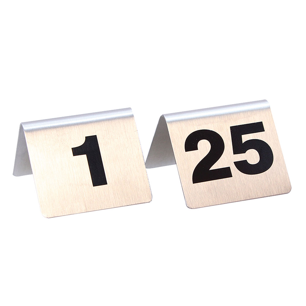"Tablecraft T125 Tabletop Number Cards - #1-25, 2"" x 2.5"", Stainless/Black"