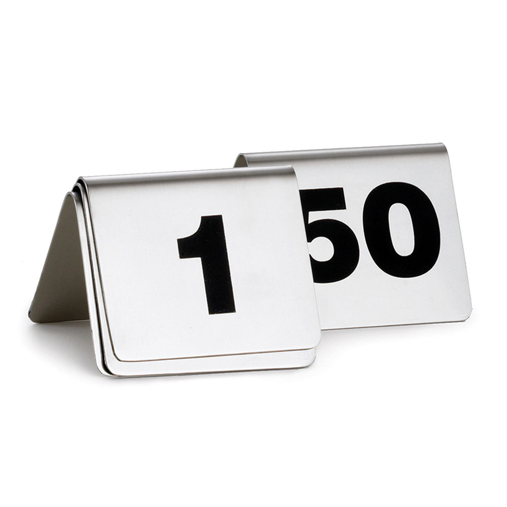 """Tablecraft T2650 Tabletop Number Cards - #26-50, 2"""" x 2.5"""", Stainless/Black"""