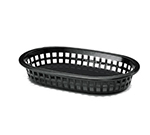 Tablecraft 1073BK Platter Basket, 8-1/2 x 6 x 1-1/2-in, Polypropylene, Oval, Black