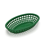 "Tablecraft 1074FG Classic Basket, 9-3/8 x 6 x 1-7/8"", Polyethylene, Oval, Forest Green"