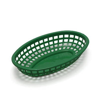 Tablecraft 1074FG Classic Basket, 9-3/8 x 6 x 1-7/8-in, Polyethylene, Oval, Forest Green