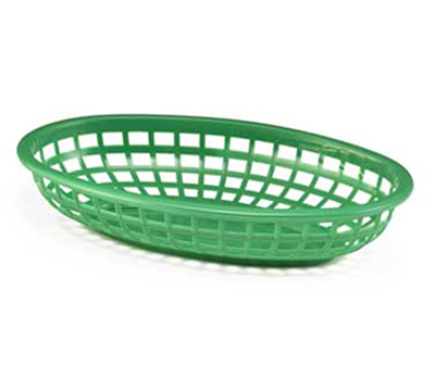 Tablecraft 1074G Classic Basket, 9-3/8 x 6 x 1-7/8-in, Polyethylene, Green